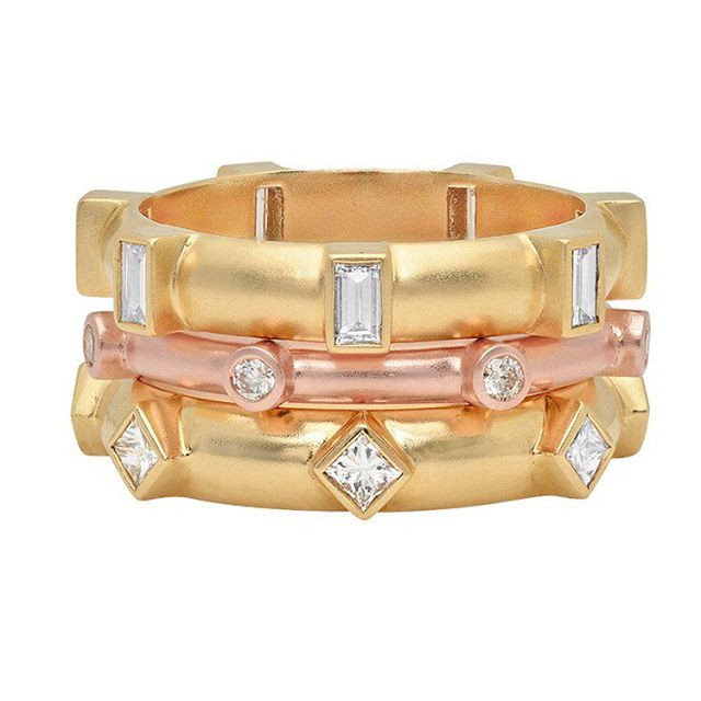 Holiday bliss ✨ Stacked Baguette, Round and Princess Diamond Japa Rings  #prayer #japa #precious #gifts #18karat #diamonds #designer #gold #rings #lux #layers #rosegold #yellowgold #holidays