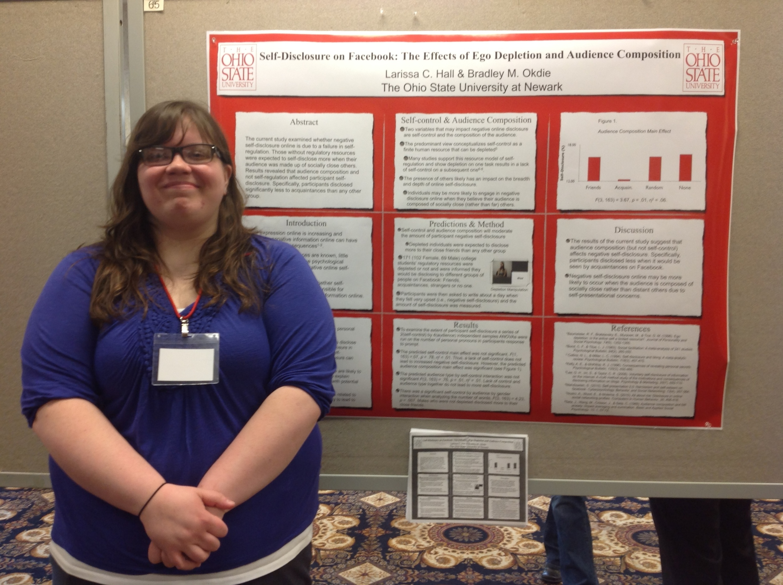 Research assistant Lacey Hall presenting research at the Midwestern Psychological Association.
