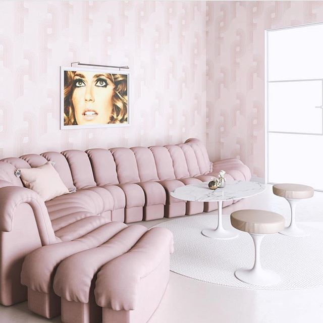 "Happy love day from 40,000 feet 💖✈️ Valentine's Day is actually my favourite holiday as it's a chance to  celebrate all the special people in my life.  Adore this blush space featuring our ""Diora 2012"" limited-edition print by my dear friend @stephanievovas that I just got to see in LA 💕 #CitizenAtelierArt 📷 @dropitmod"