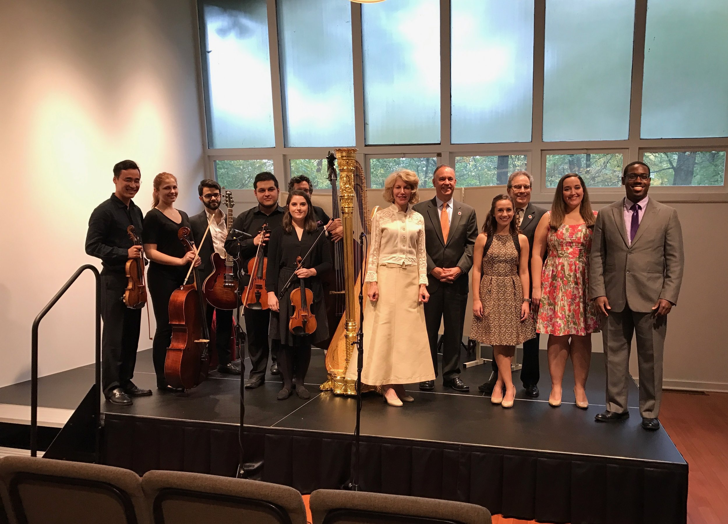 On May 10, guest artist Lisa Tannebaum, founder of the Musical Angel's Program,  captivated the audience in LeFrak Concert Hall with a recital of works by Grandjany, Handel, Spohr, Hasselmans, Rodrigo, and Debussy performed with students from the Aaron Copland School of Music. Last fall she graciously hosted students from the Copland School in her Connecticut studio for a concert and conversation about musical styles ranging from opera to jazz.