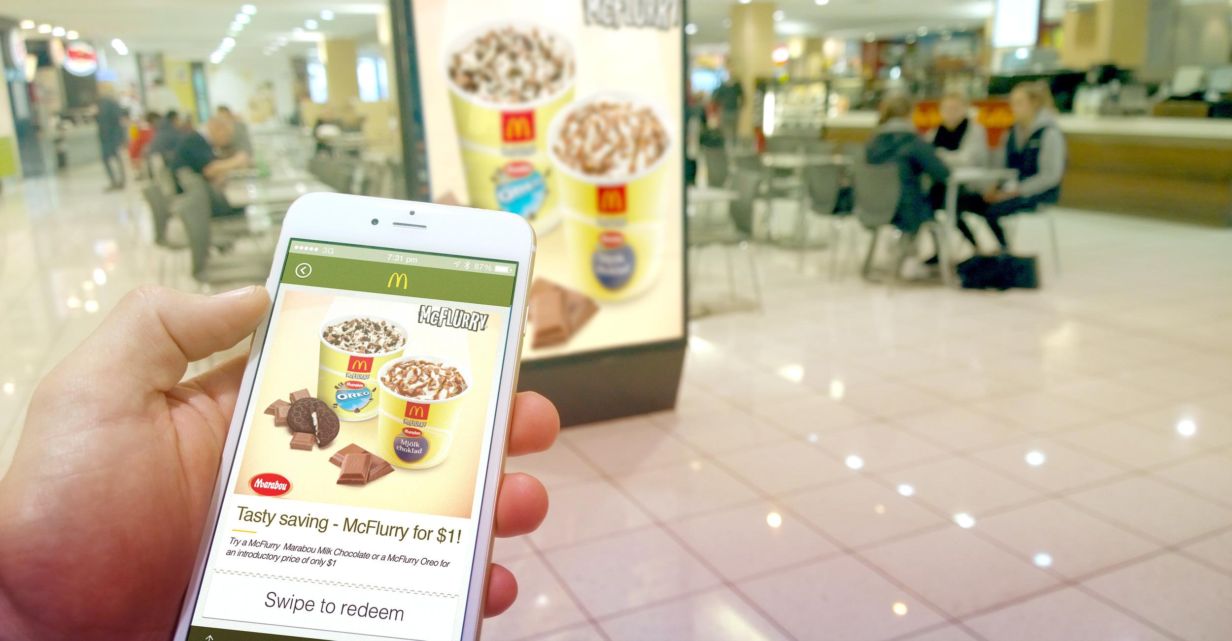 Phone triggers display McD app
