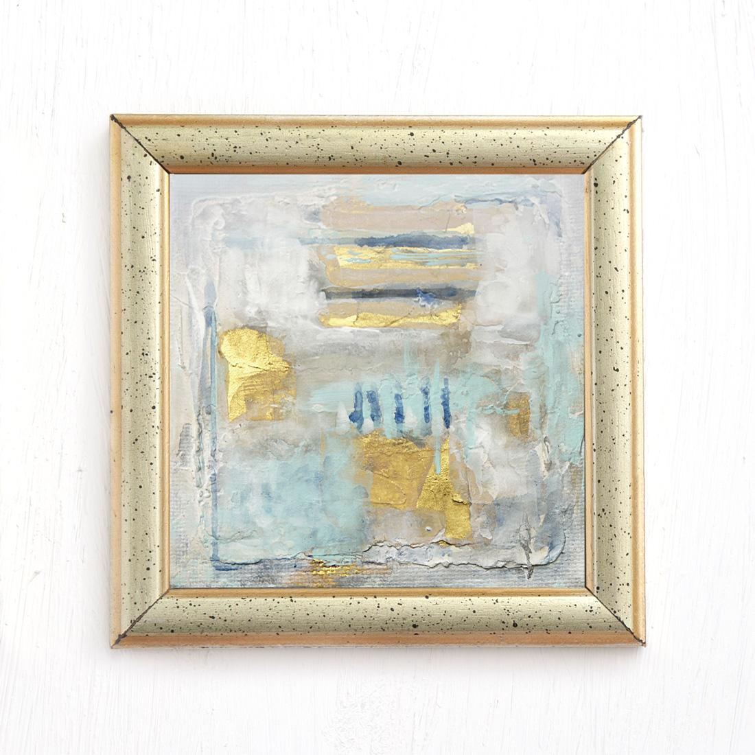 Sticks - abstract mixed media painting mint gold Navy blue by Jennifer Lorton - framed.jpg