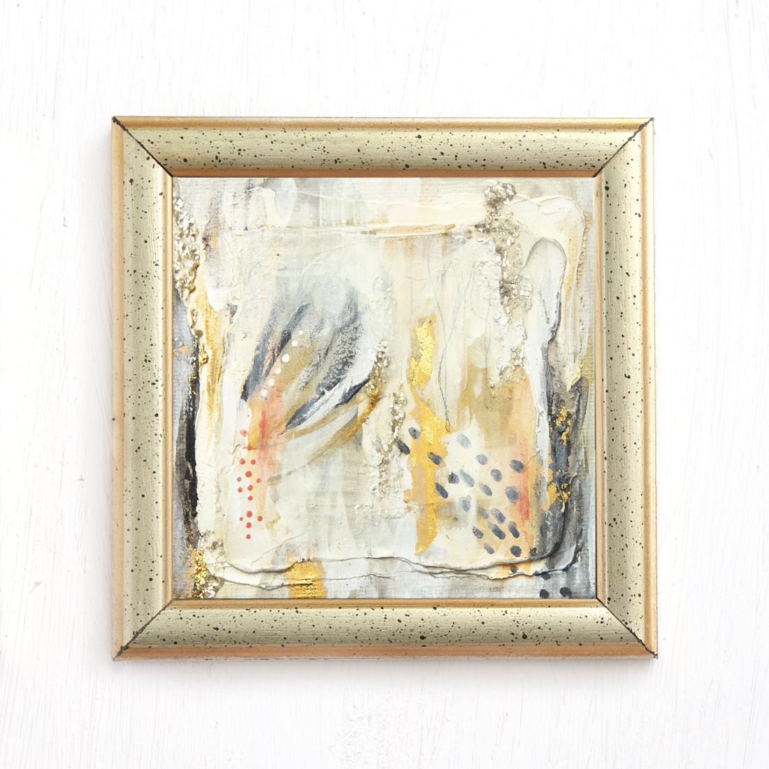 stardust abstract mixed medai painting salmon gold gray by jennifer lorton - framed.jpg
