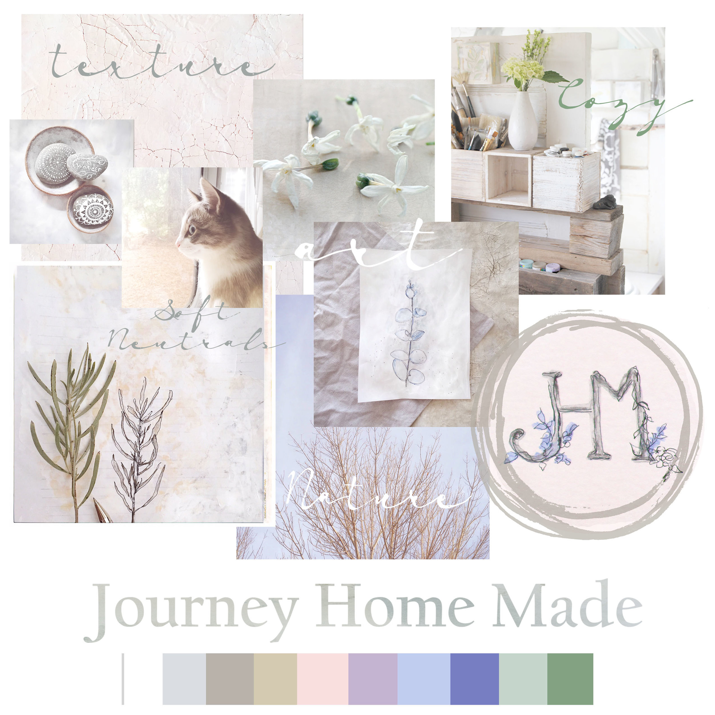 Rebranding mood board for Journey Home Made. Branding by the seasons - Summer Style. Soft, ethereal, homey, and artistic. Hygge style