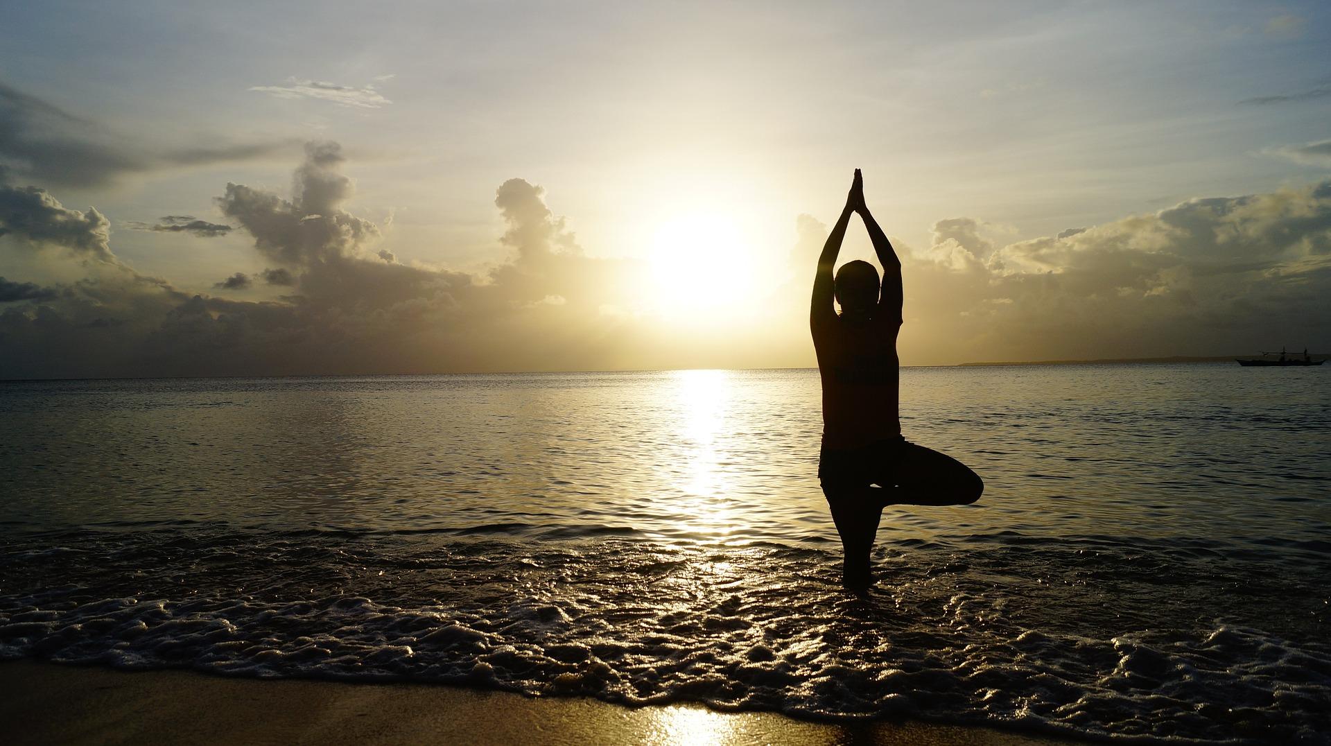 """ Beach Sunset Yoga "" by Pexels via Pixabay (Public Domain)"