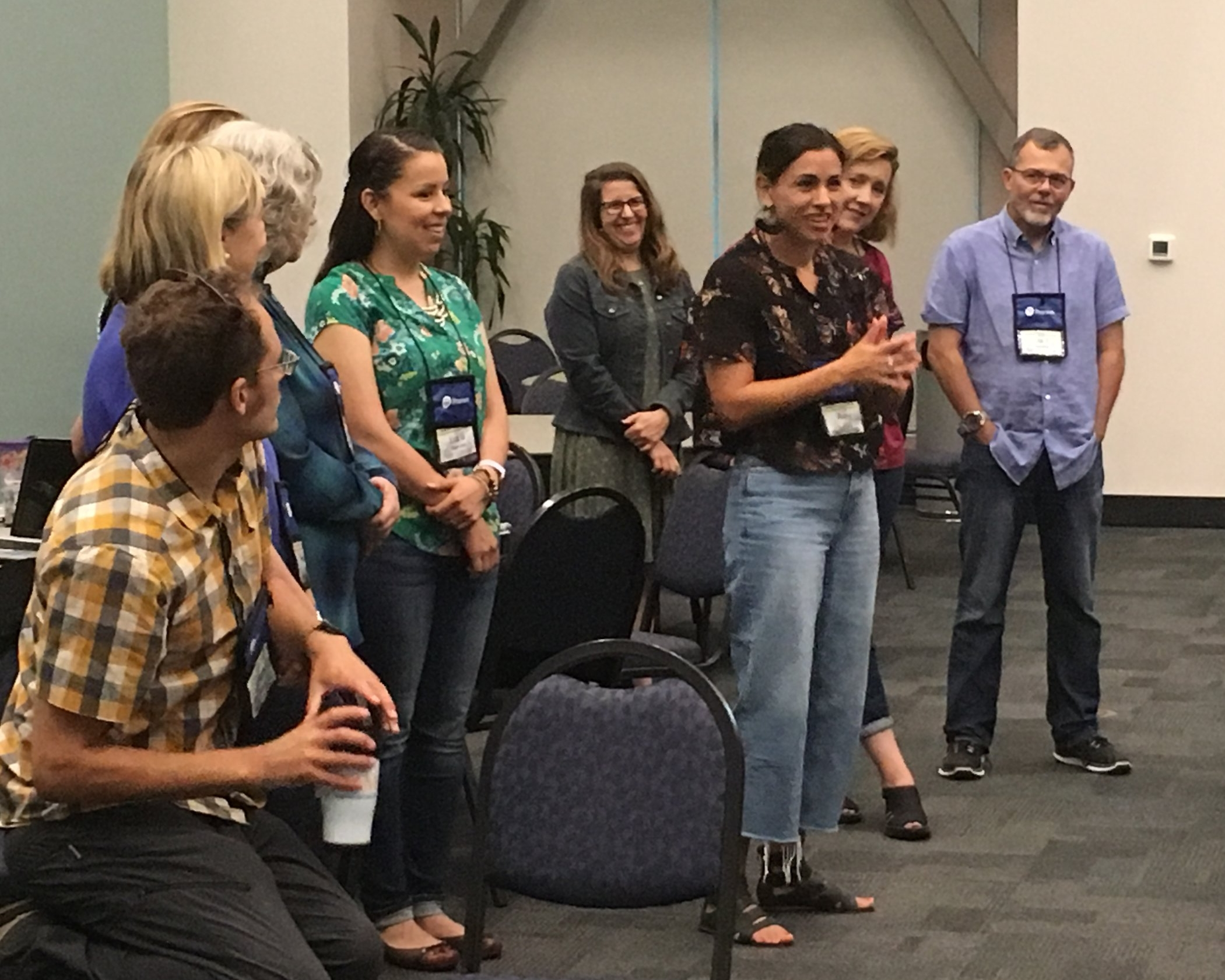 CGEP Teacher Leader Amy Vigil explains her group's analogy of global competence to the teachers in the Instructional Models and Strategies the Promote Global Competency Across Disciplines strand.