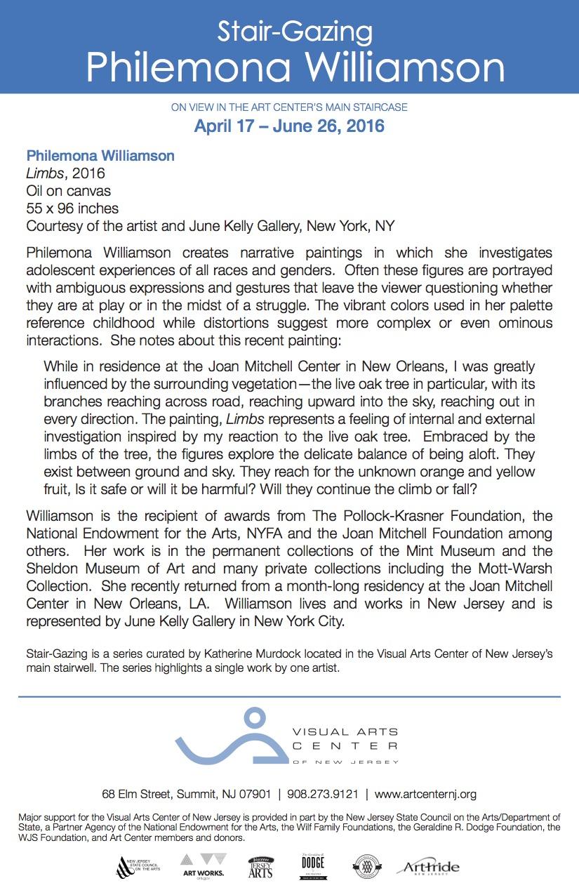 Stair-Gazing: Philemona Williamson, gallery card (back)