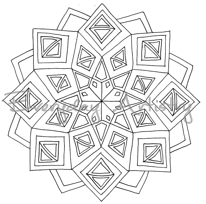 One of the five mandalas available for download in my shop