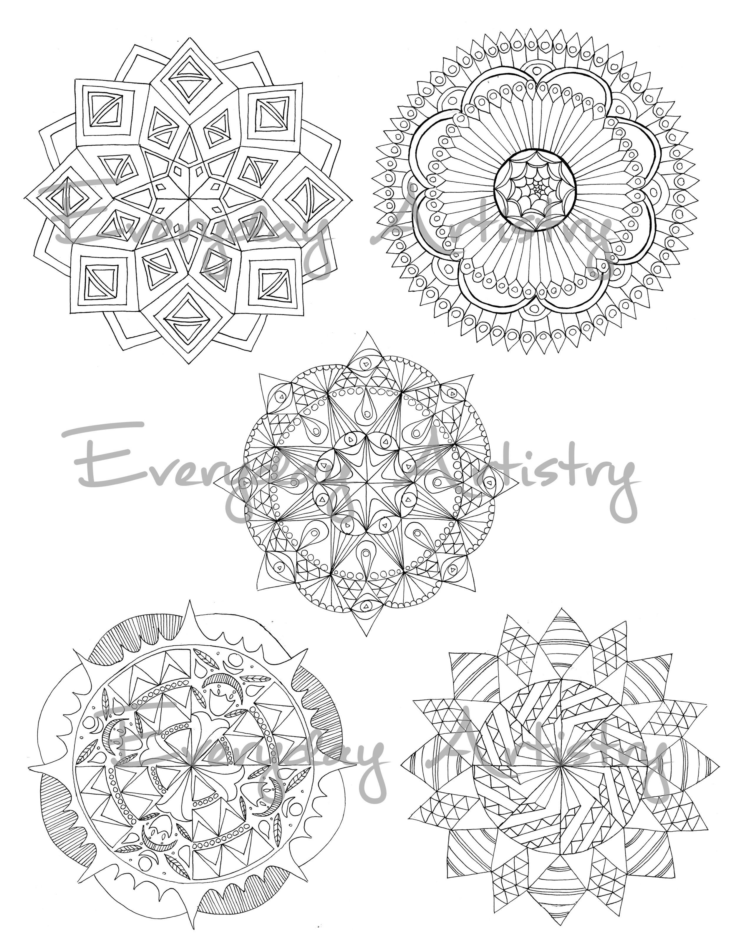 The five mandalas you can choose from