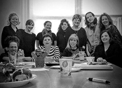 The intrepid writers of Memoir in Progress, Spring 2016 (background), celebrating our final class with baked goods (foreground).   Photo credit: Shellie Rapson James