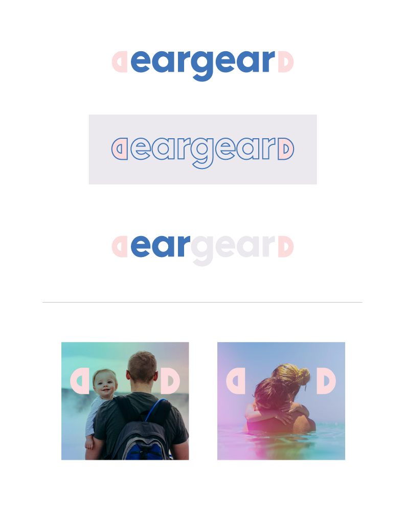 EarGear is a medical device for infants that corrects major ear deformities. The logotype is bookended by small ears, which serve as a thematic graphic element throughout communications.