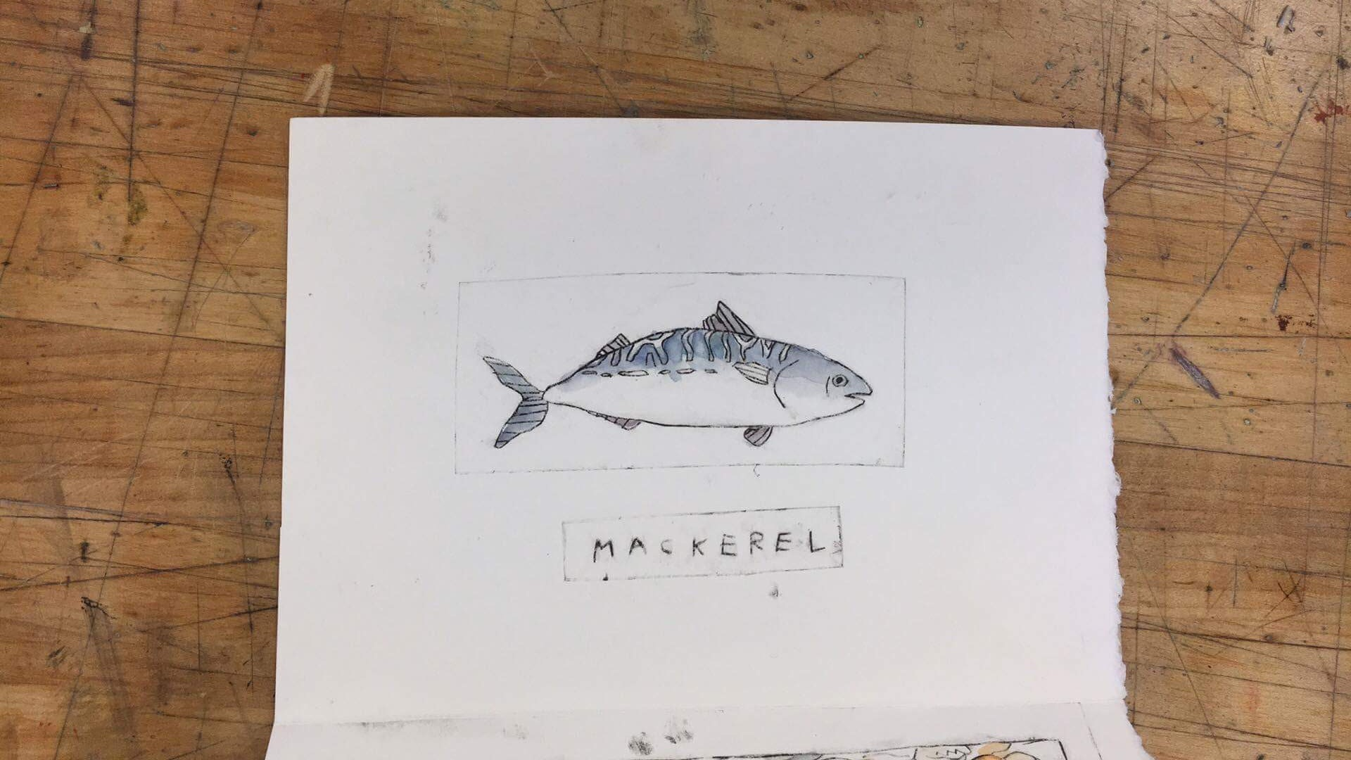 Drypoint print with watercolor (1/4 page booklet)
