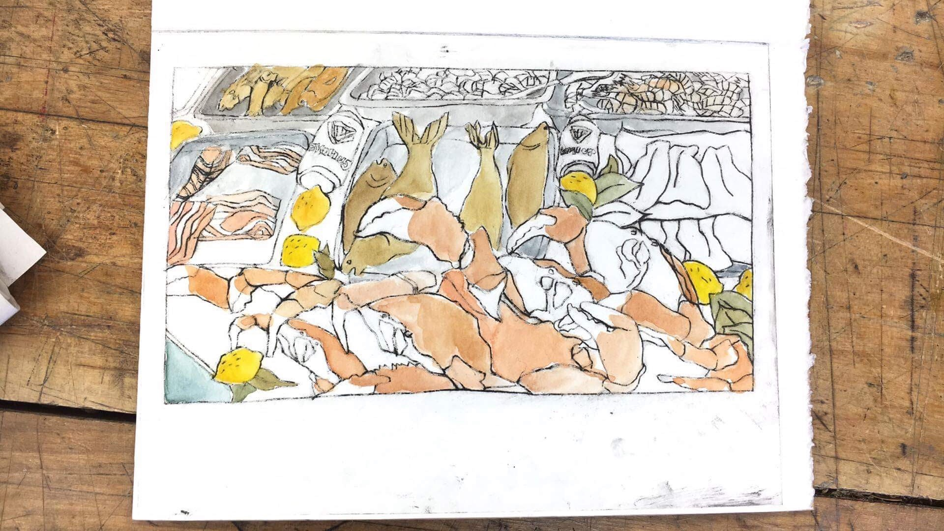 2/4 Drypoint and watercolor booklet