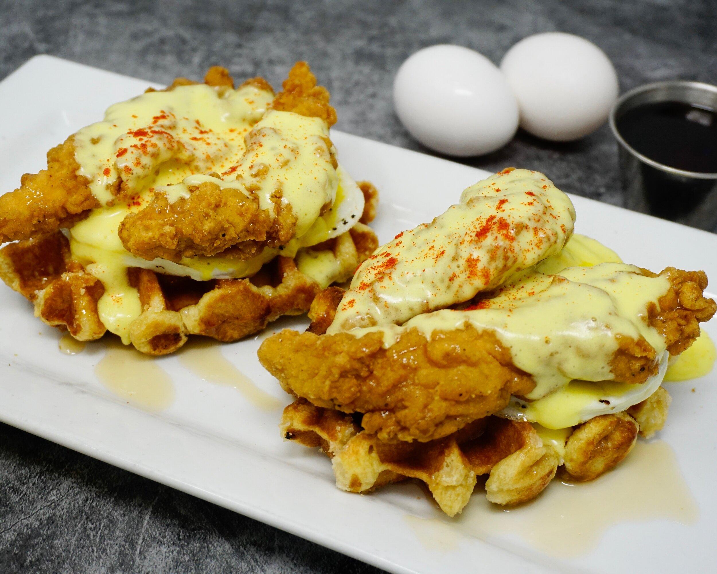 Chicken-n-Waffles Benedict