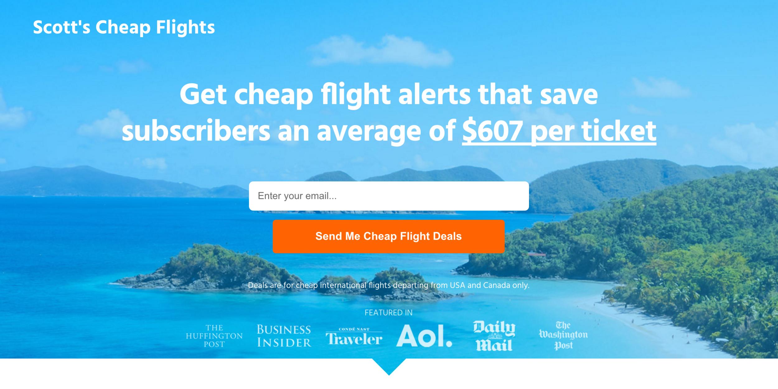 Airfare deal alert email list: Scott Keyes