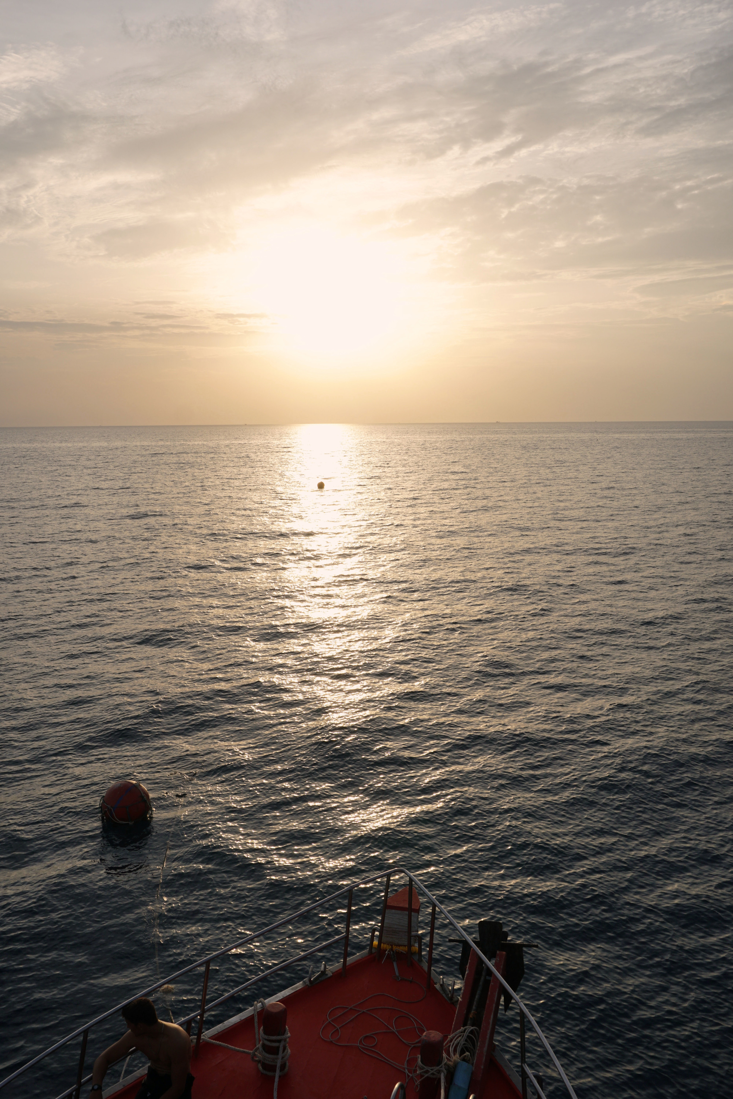 Watching sunset before our night dive