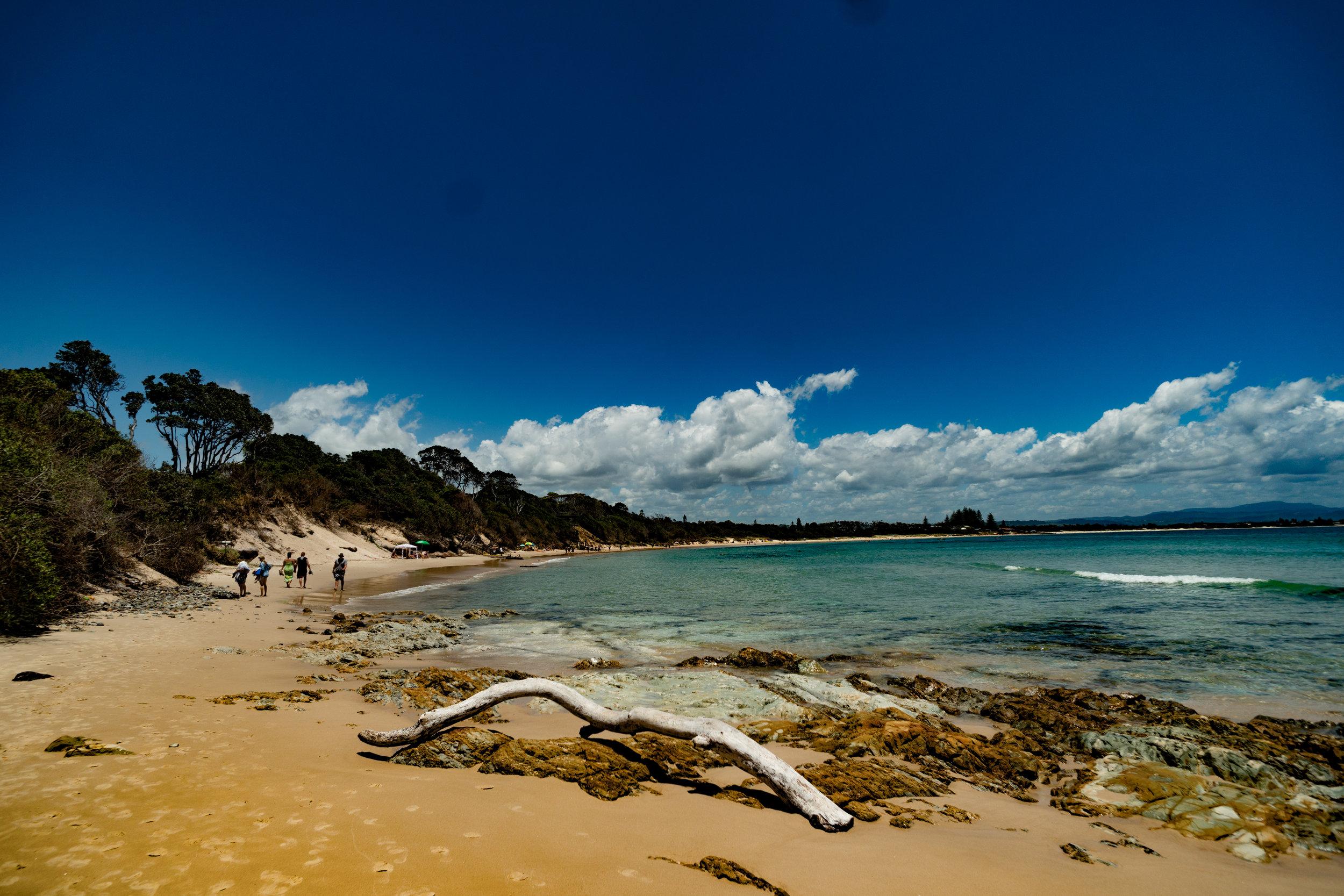 Walking along Byron Bay Beach