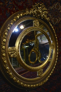 Renaissance Antique Dublin Ireland GILT OVAL DOUBLE FRAMED MIRROR