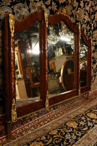 Renaissance Antique Dublin Ireland BRASS MOUNTED 3 PANNELLED MIRROR