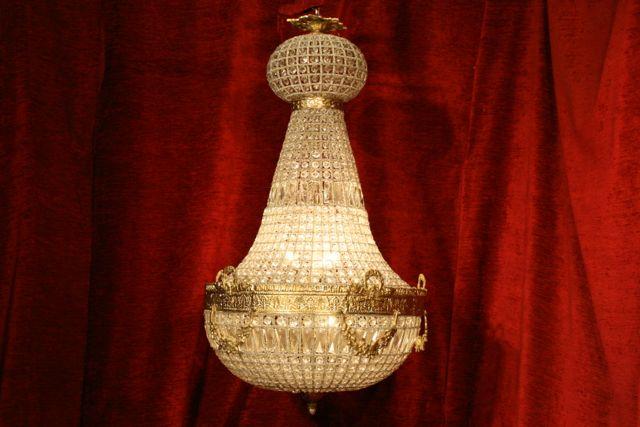 Renaissance Antique Dublin Ireland LARGE BRASS AND GLASS CHANDELIER