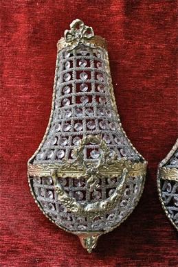 Renaissance Antique Dublin Ireland BRASS AND GLASS WALL LIGHTS