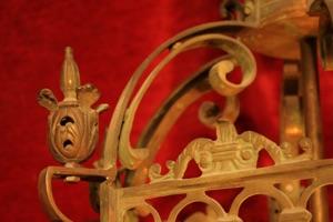 Renaissance Antique Dublin LARGE BRASS BEVELED GLASS LANTERN