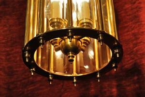 Renaissance Antique Dublin HEAVY SOLD BRASS SECTIONED LANTERN