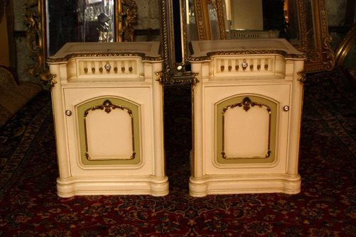Renaissance Antiques Dublin Ireland PAIR OF PAINTED WHITE BEDROOM LOCKERS