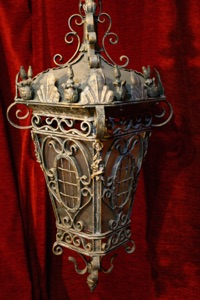 Renaissance Antique Dublin Large heavy wrought iron lantern