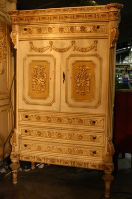 Renaissance Antiques Dublin Ireland Old painted white/cream carved wood french childs wardrobe
