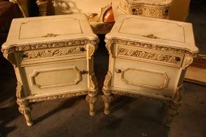 Renaissance Antiques Dublin Ireland Old painted white/cream pair of lockers