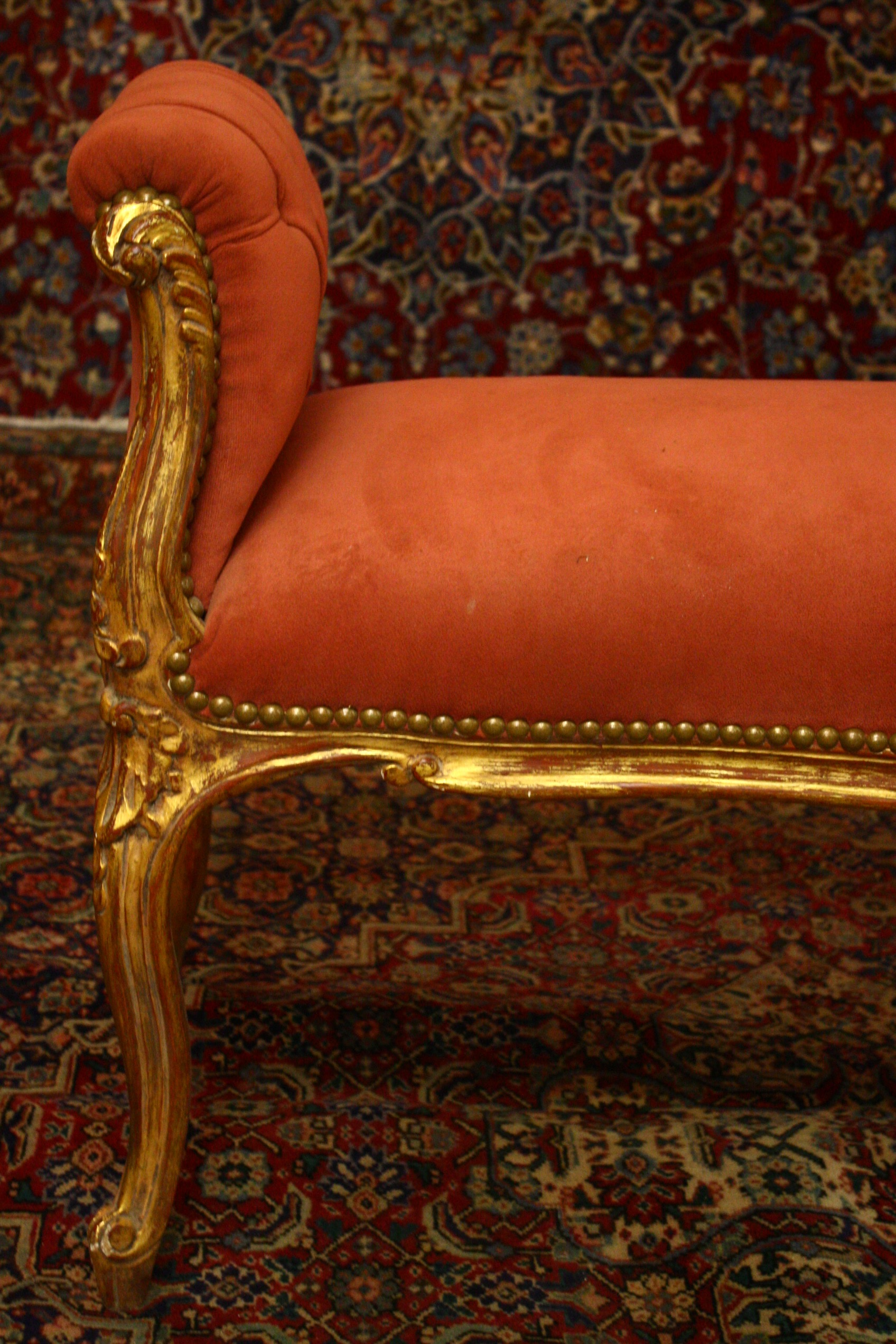 Renaissance Antique Dublin Ireland two seater gilt stool