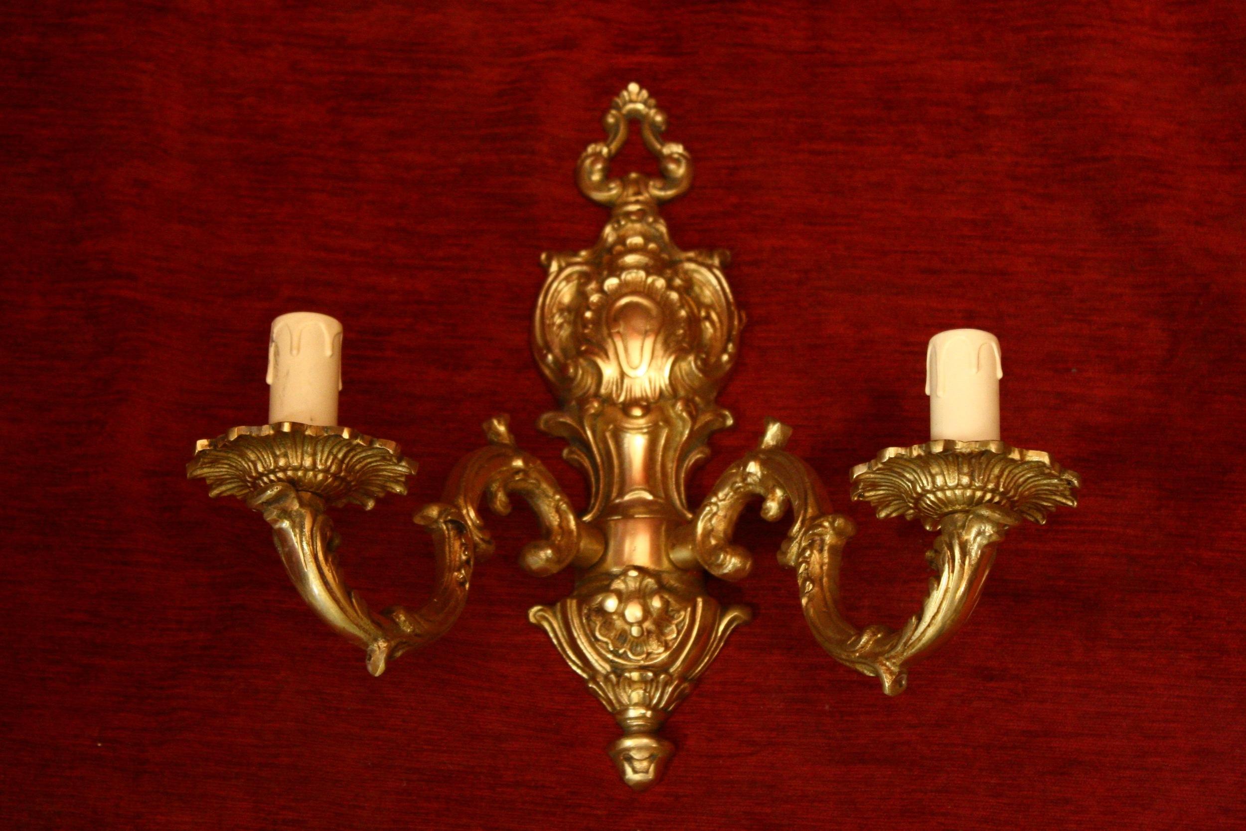 Renaissance Antique Dublin Ireland brass double wall lights