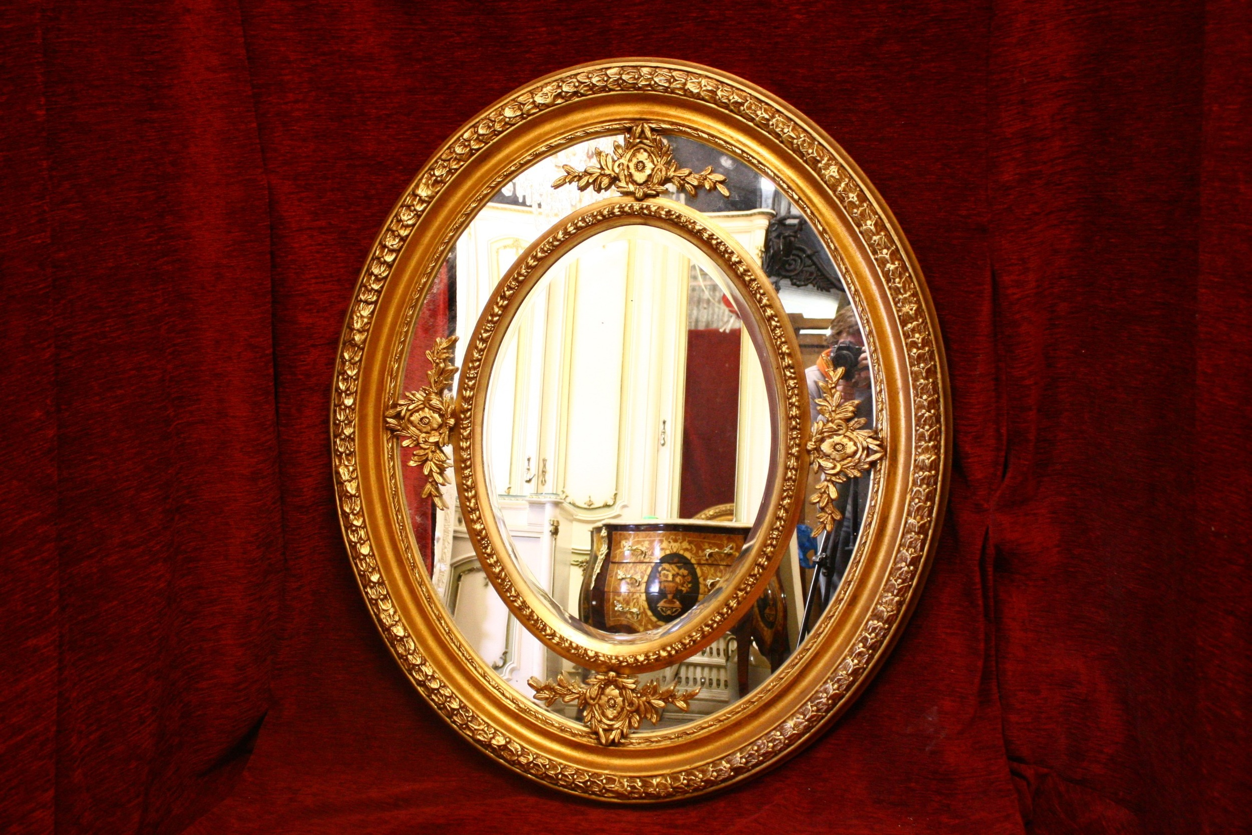 Renaissance Antique Dublin Ireland Medium  to large double framed mirror
