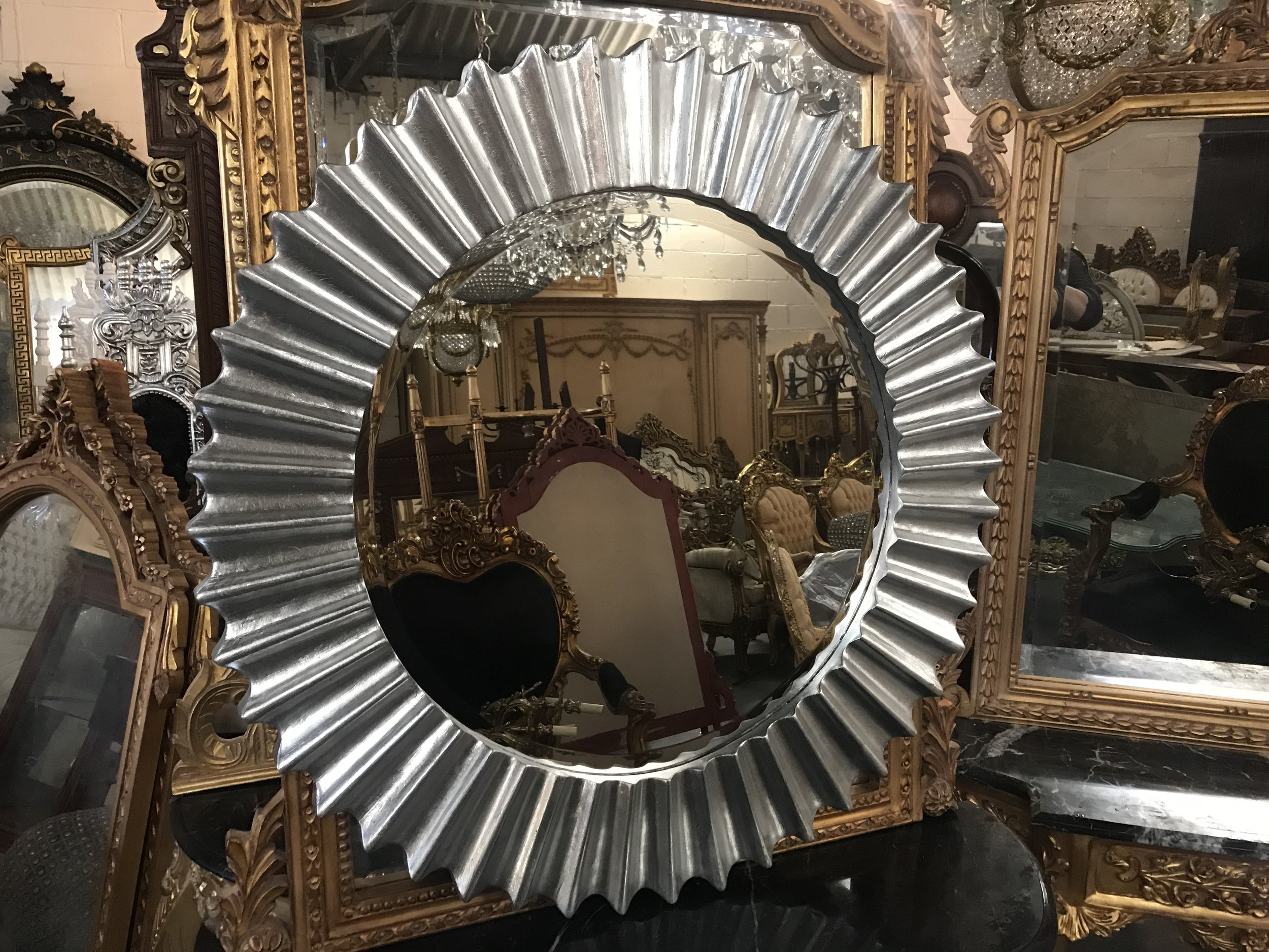 Silver wood framed mirror Renaissance Antique Furniture and Lighting Warehouse Dublin Ireland