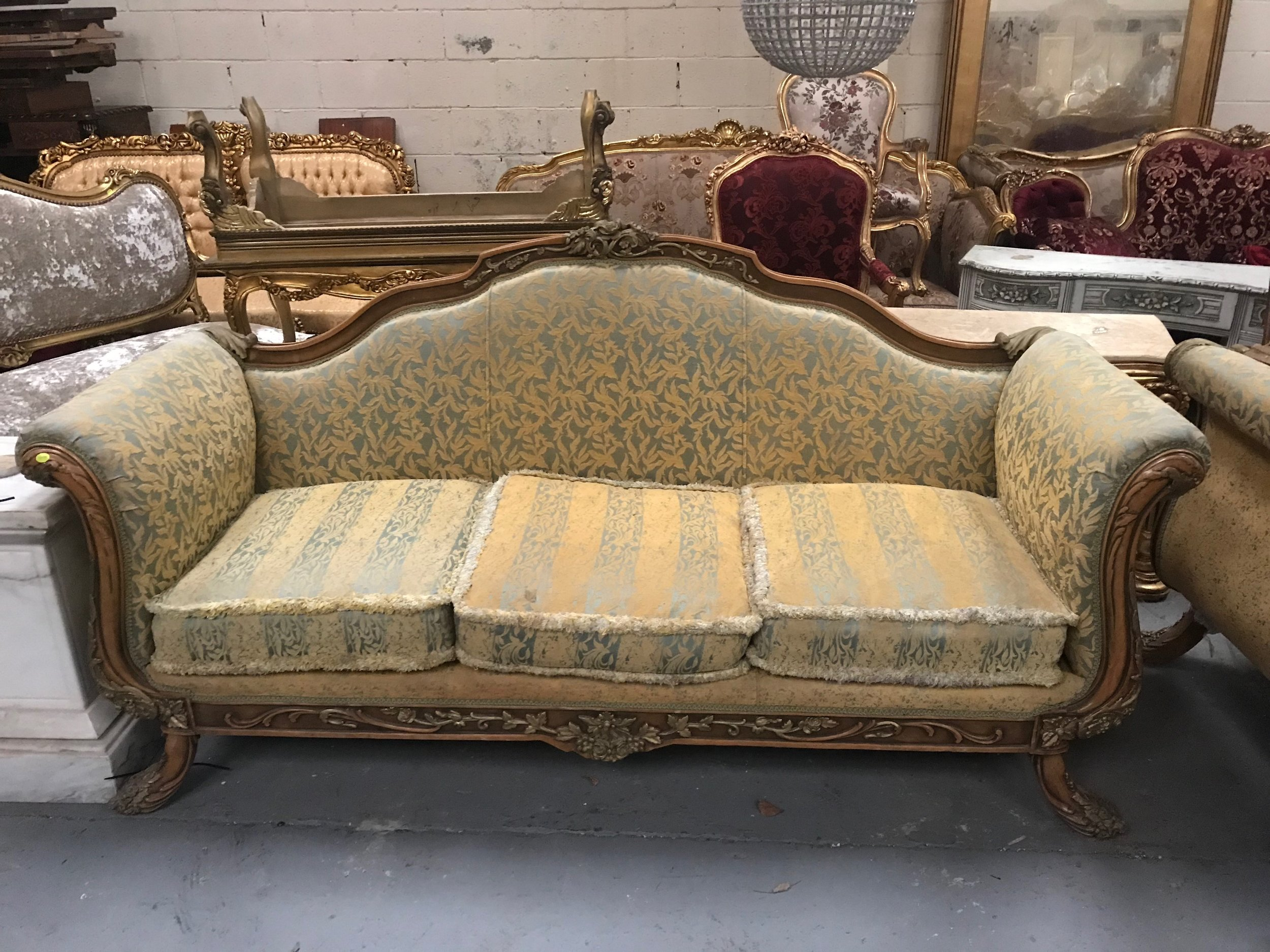 carved wood sofa Renaissance Antique Furniture and Lighting Warehouse Dublin Ireland