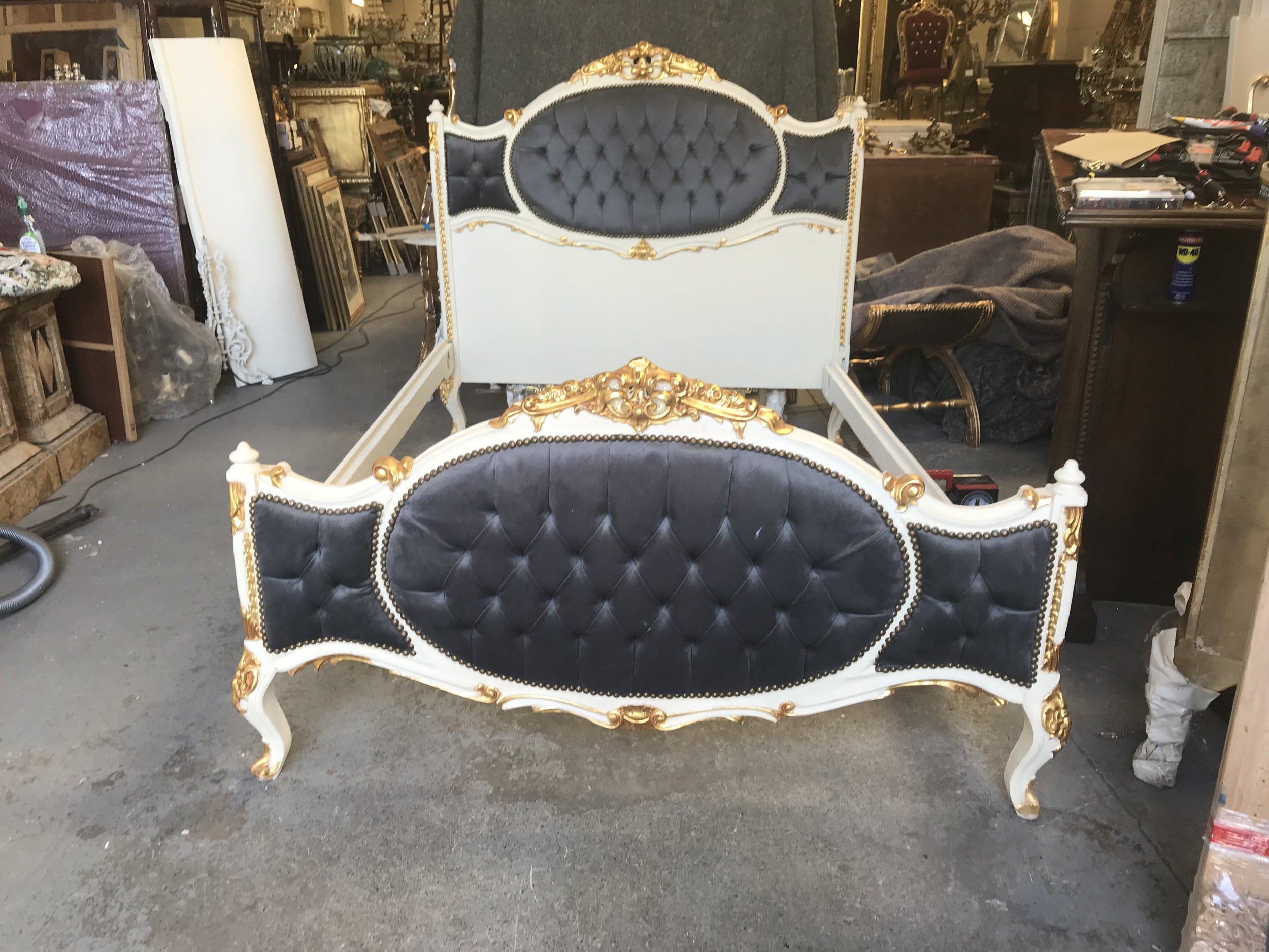 Antique bed that has been refurbished