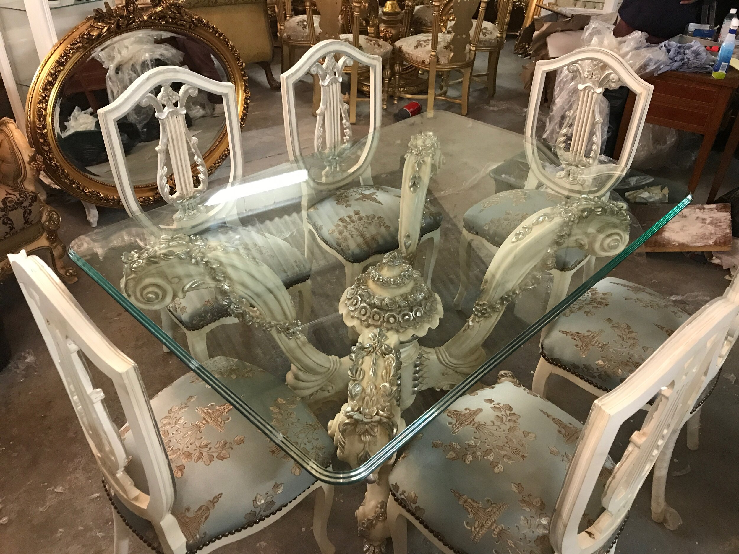 Silver and cream table and chairs