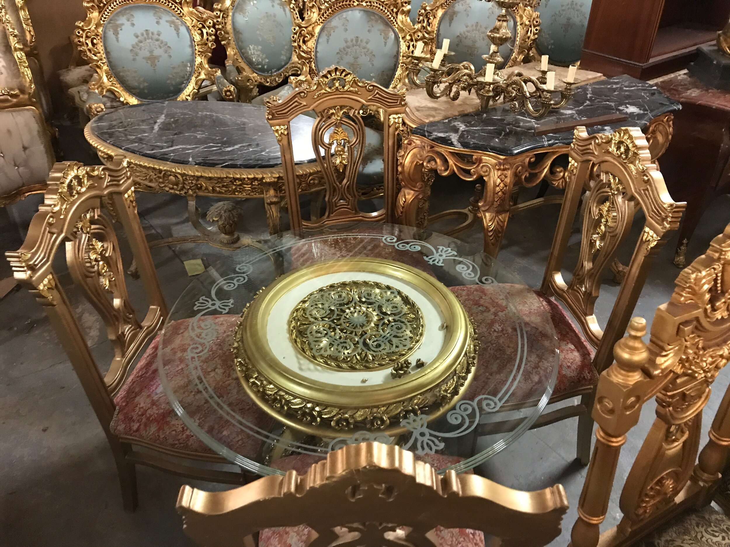 Fine gold table and chairs