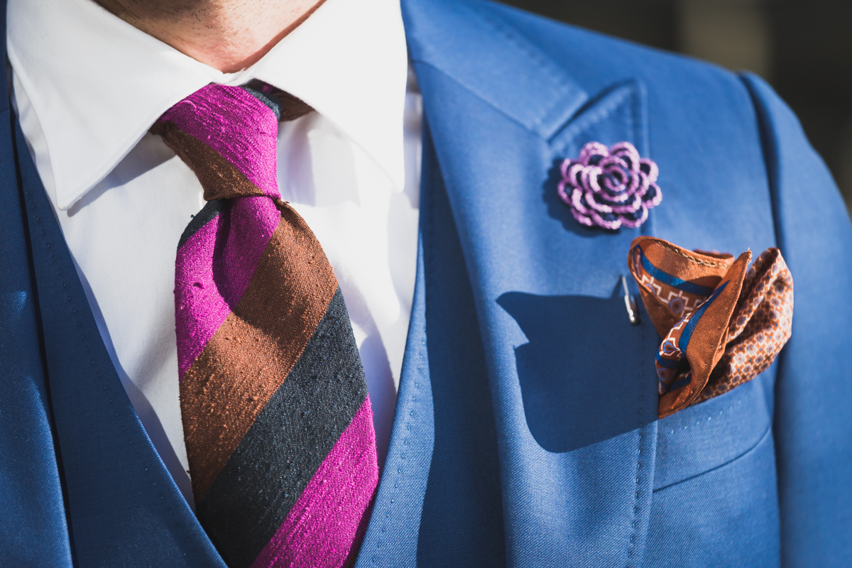 Above:    this is quite a bold look, but the fine-patterned pocket square elegantly highlights the brown shantung silk tie.  image: Braddon Tailors