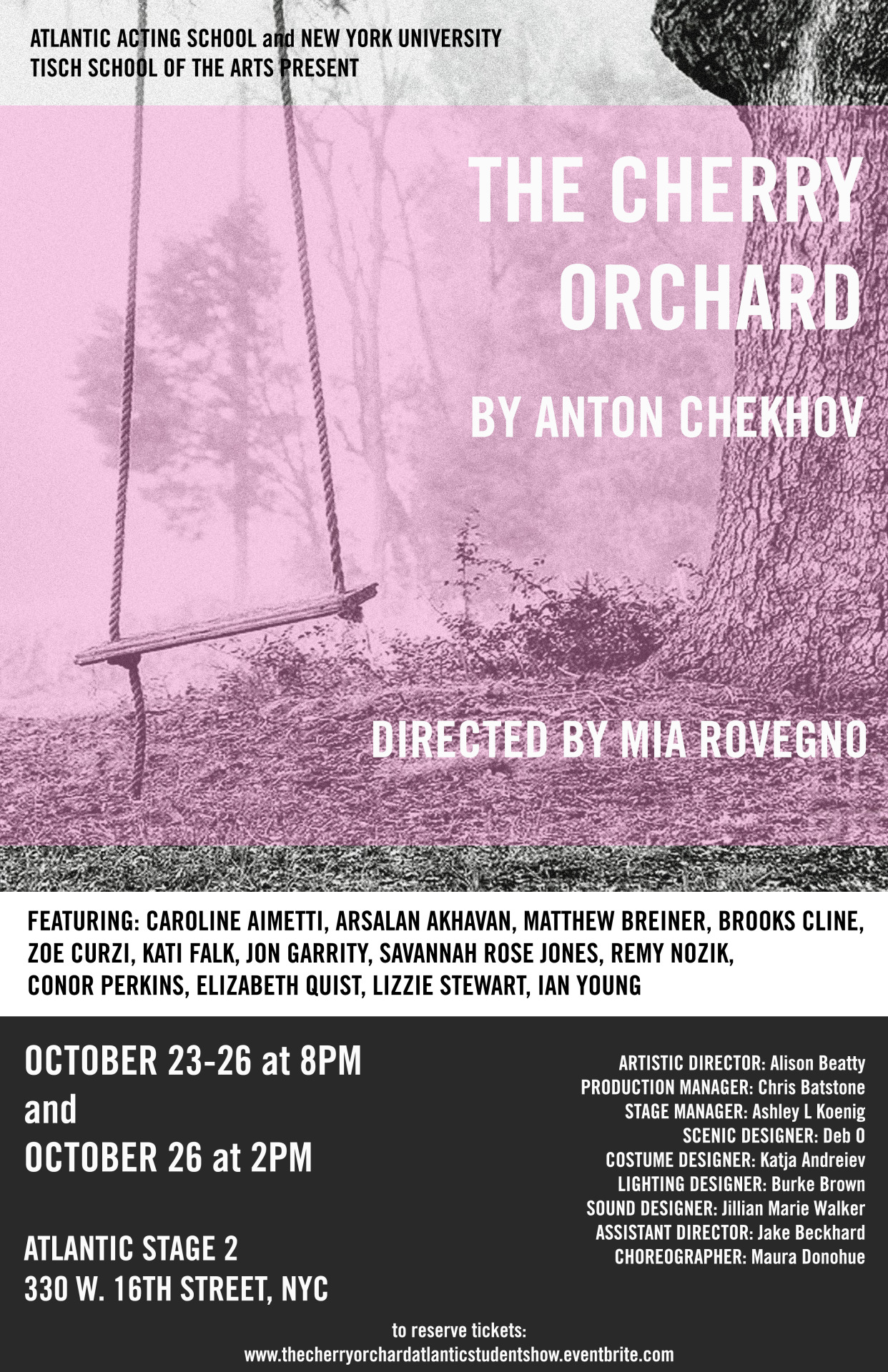 """""""The Cherry Orchard"""" at Atlantic Acting School and NYU Tisch School of the Arts poster"""