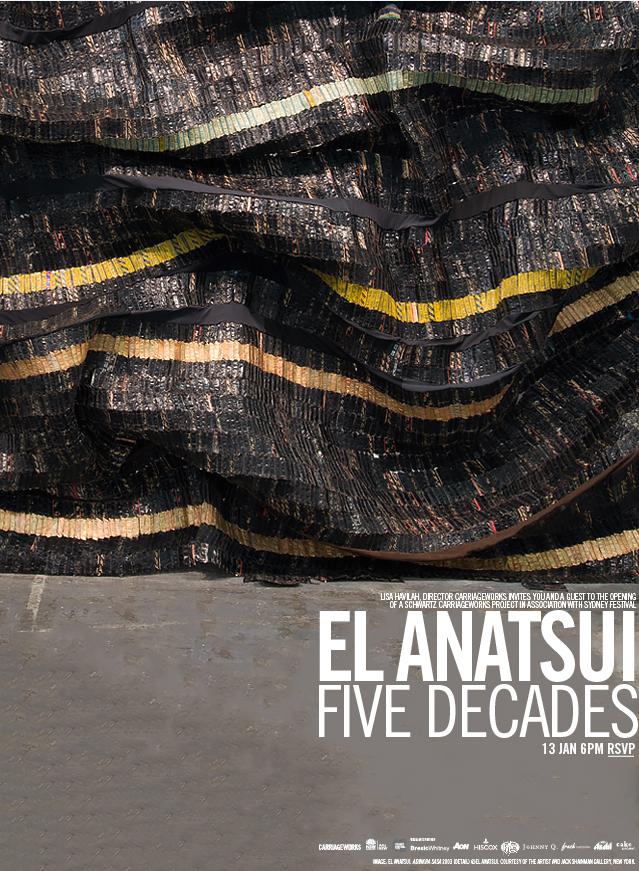"""""""El Anatsui"""" exhibition at Carriageworks e-invite"""