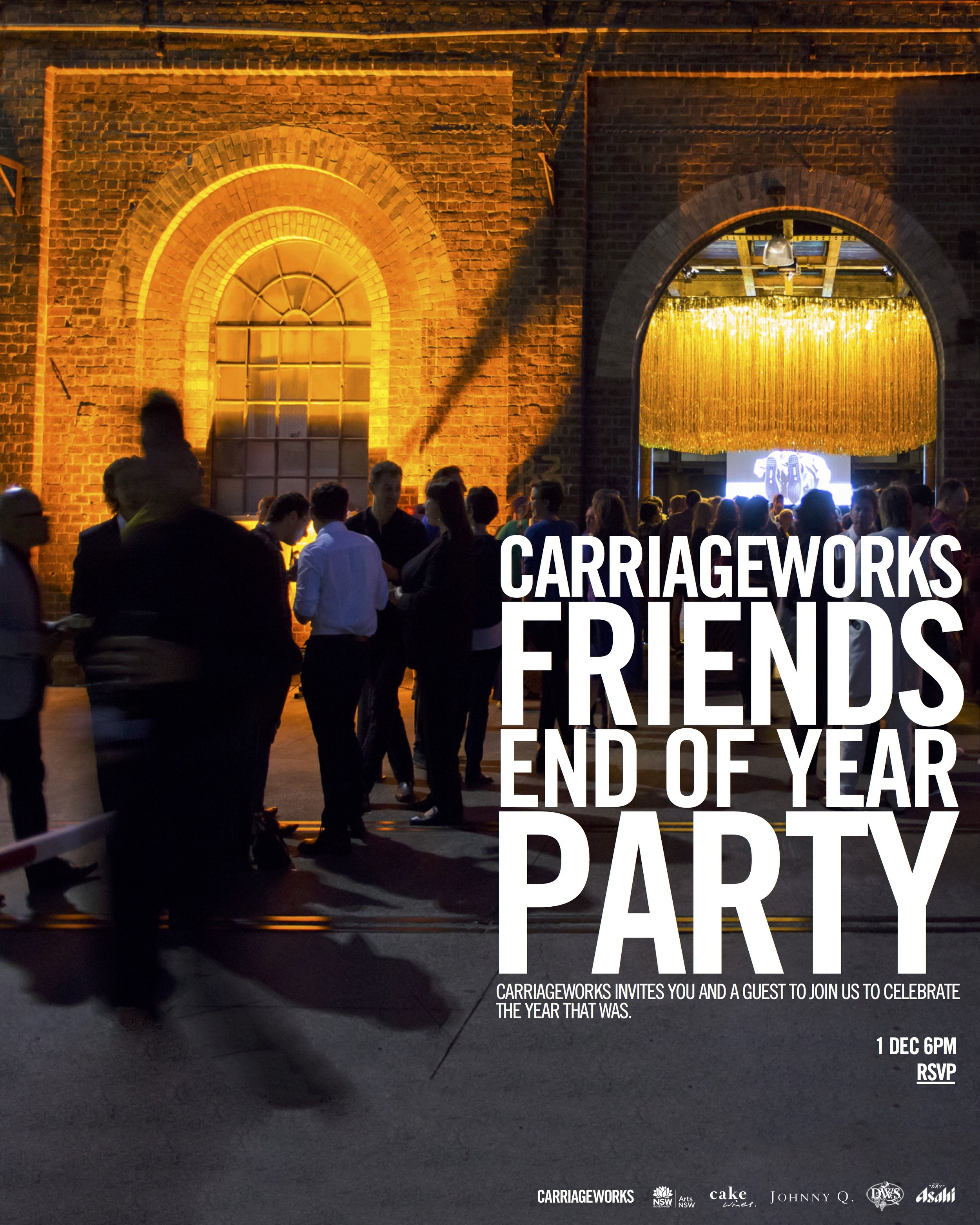 Friends End of the Year Party at Carriageworks e-invite