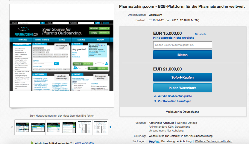 Pharmatching.com zu verkaufen. Bei  EBAY .