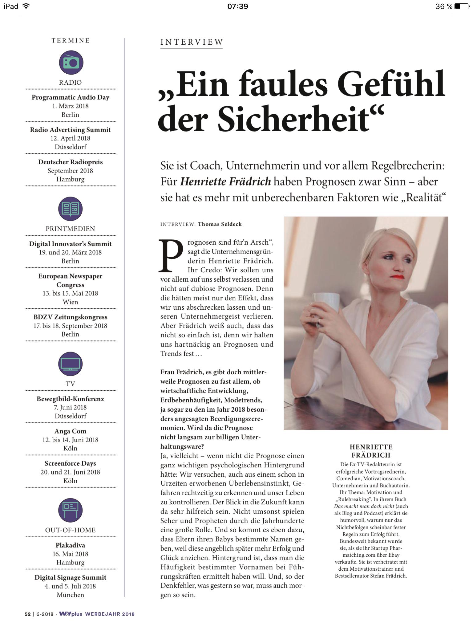 Henriette Frädrich Interview W&V