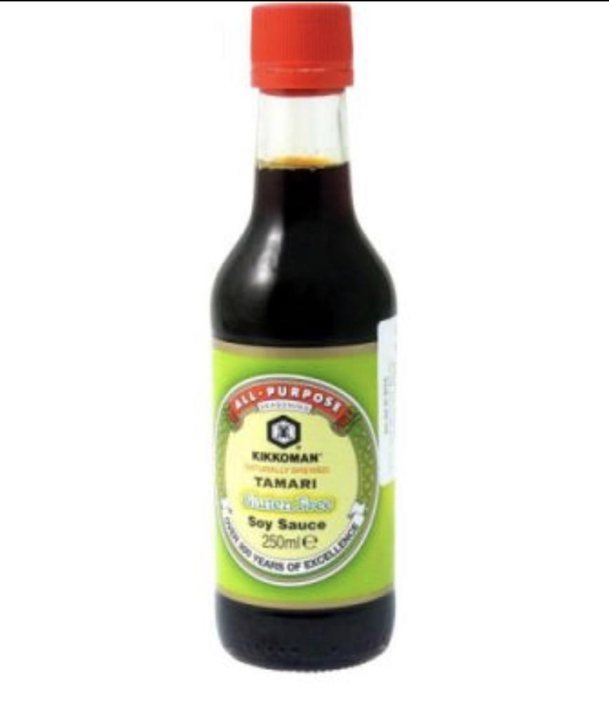 La salsa Tamari es una soja sin gluten, yo la uso muchísimo ¡me encanta! si toleráis el gluten podéis usar una salsa de soja normal.