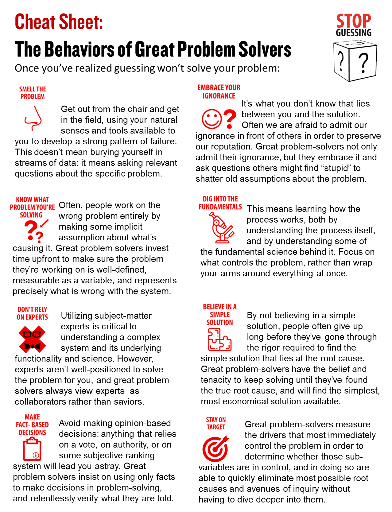 Stop Guessing Cheat Sheet