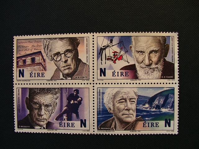 Irish Nobel Prize Laureates:Yeats, Shaw, Beckett and Heaney feature on this postage stamp.Oscar Wilde and fellow Dubliner, the great James Joyce, are also world-famous from a country renowned for its writers. Many people also say that the best and clearest English is spoken in Ireland.