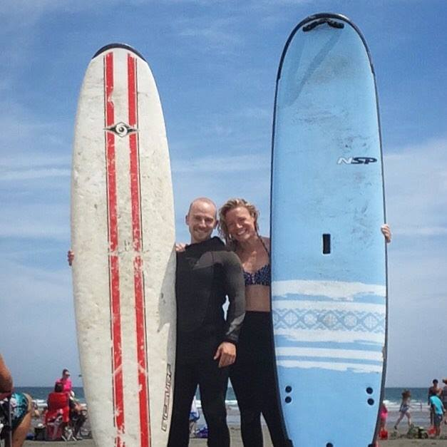 Chrystn and I, surfing at Jenness Beach in Rye, New Hampshire.