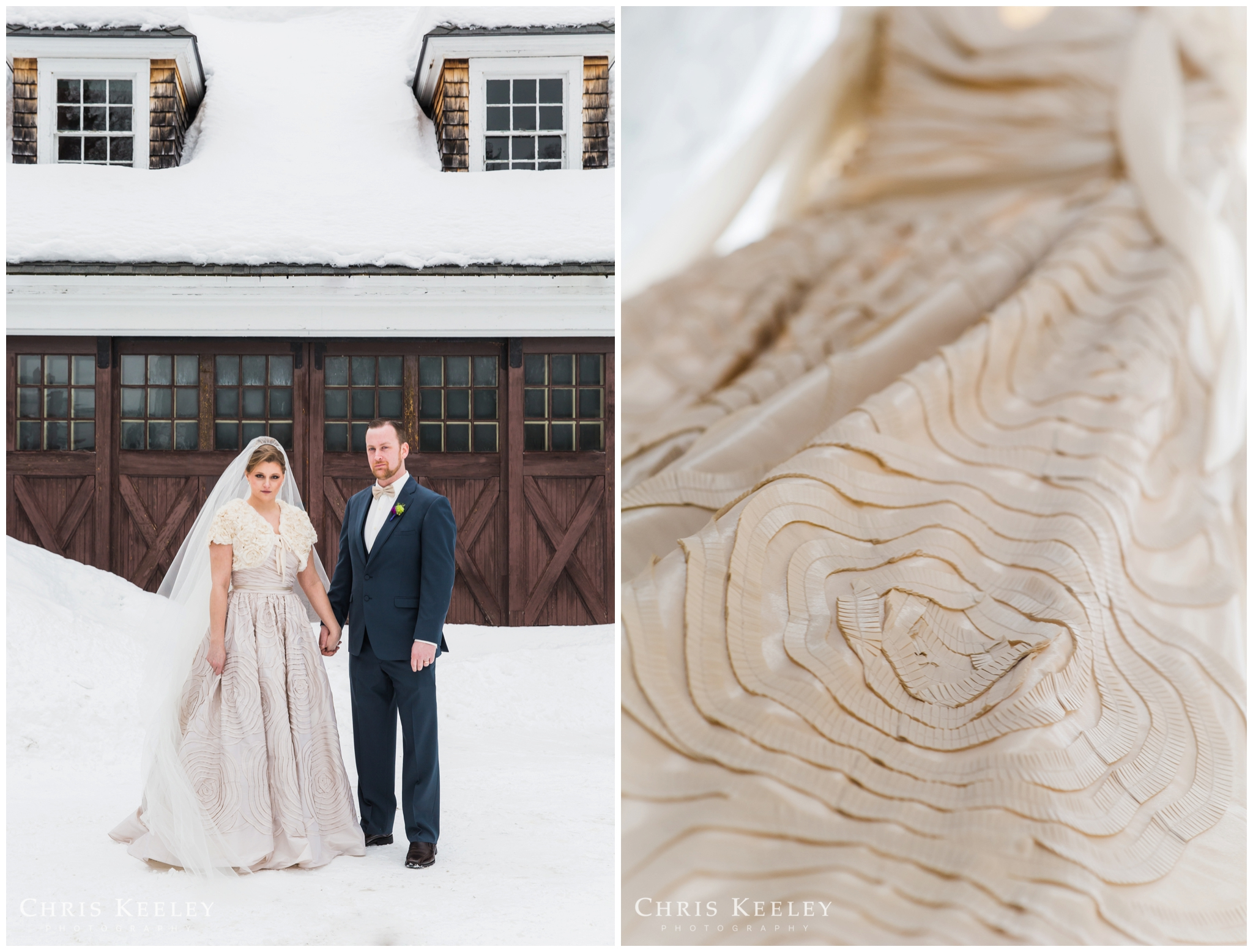 Lauren chose a modern, yet classic ball gown from Wtoo by Watters. The taffeta dress featured a ruched strapless sweetheart bodice, full skirt with hand pleated floral details, and a thin satin ribbon belt.